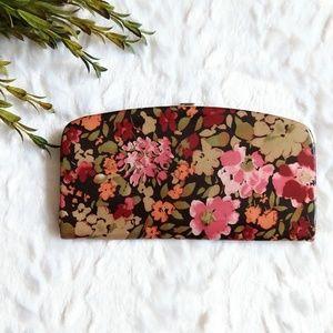 Handbags - Floral print glossy snap closure clutch wallet